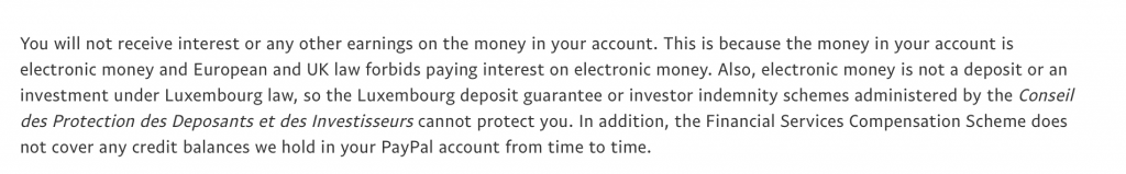What is e money institution Not deposit protection for e money issuers